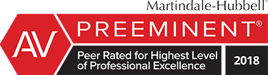 Martindale-Hubell | AV Preeminent | Peer Rated for Highest Level of Professional Excellence | 2018